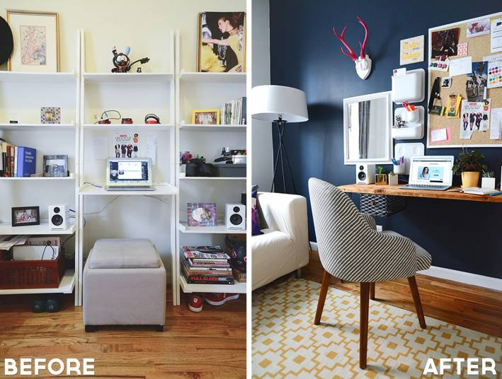 style girlfriend home office, before and after, home office makeover
