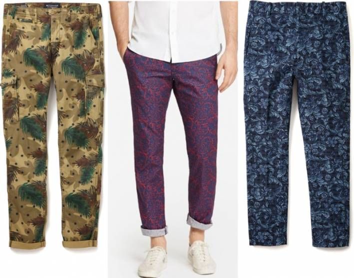 guys printed pants, guys patterned pants, men's printed pants, men's patterned pants