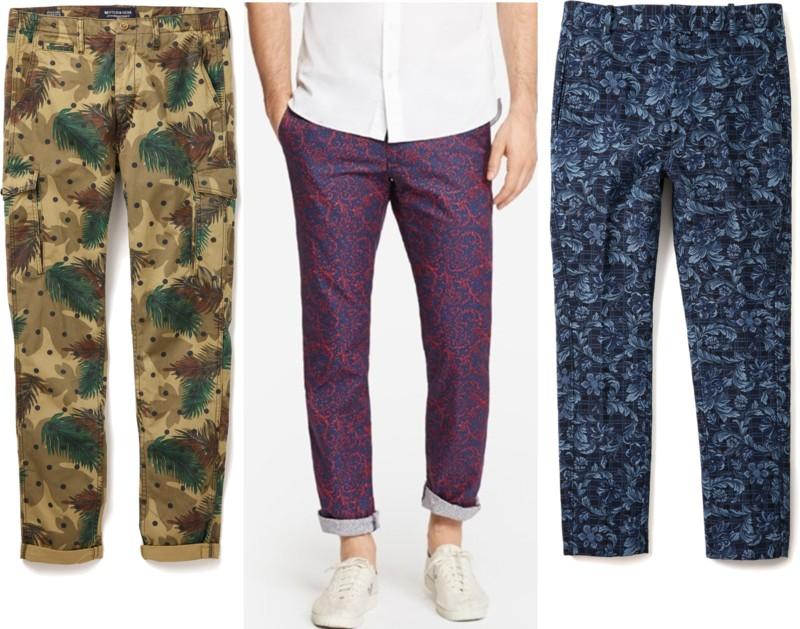 guys printed pants, guys patterned pants, men's printed pants, men's patterned pants