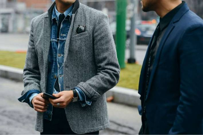 denim jacket with blazer, ways to wear a denim jacket