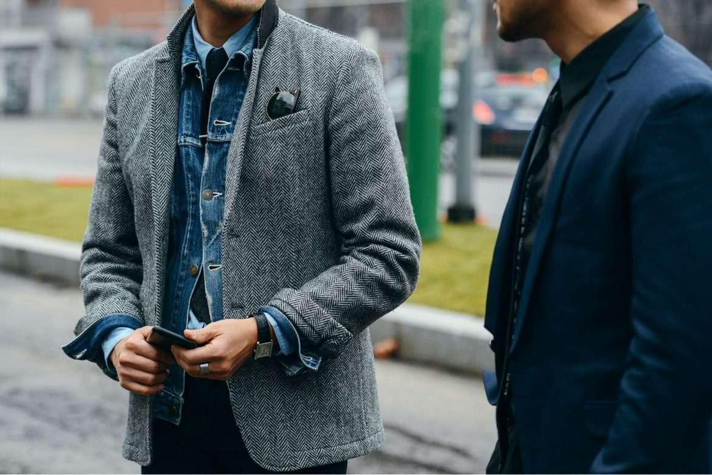 denim jacket with blazer, ways to wear a denim jacket