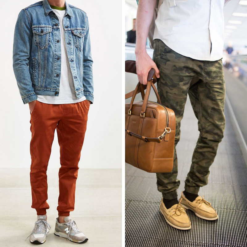 how to wear bright joggers, how to wear camo joggers