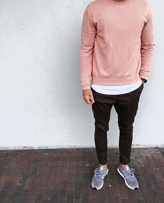 jogger pants with pink sweatshirt