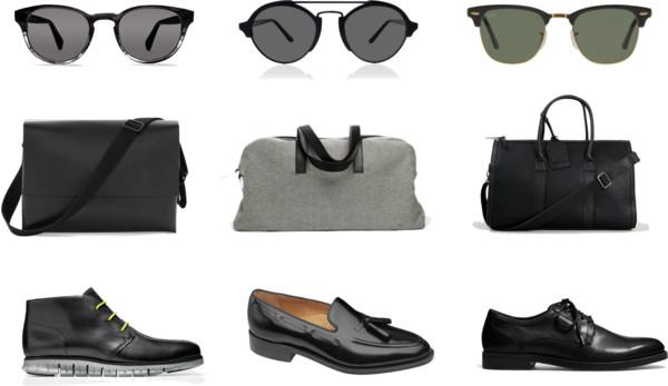 black on black, black accessories, black sunglasses, black bags, black shoes, black dress shoes