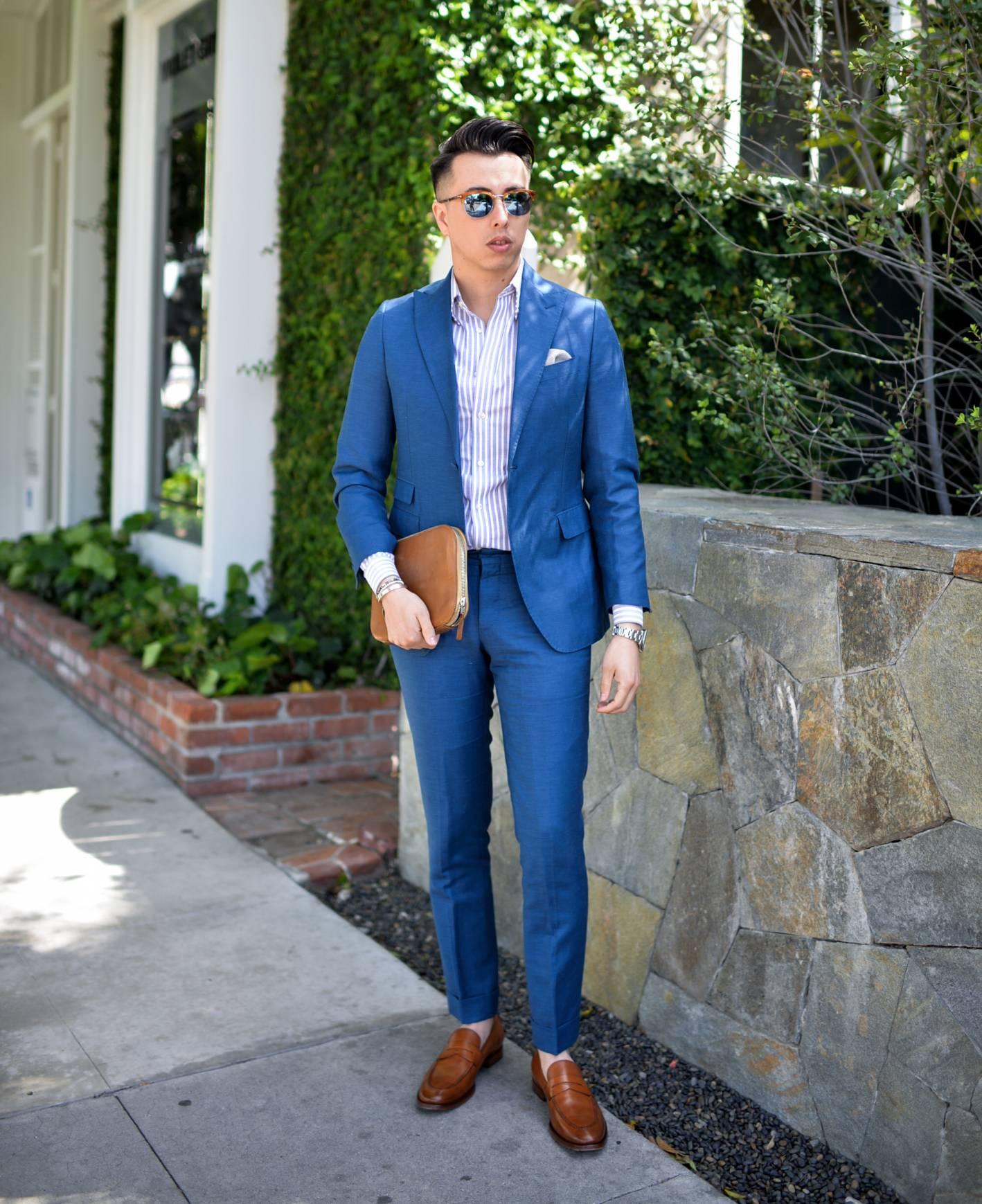 blake scott wearing linen suit