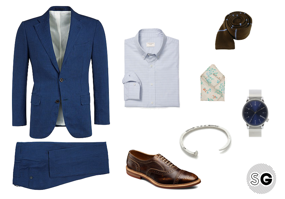 men's bracelet, work wardrobe, summer outfit, metal bracelet, linen suit
