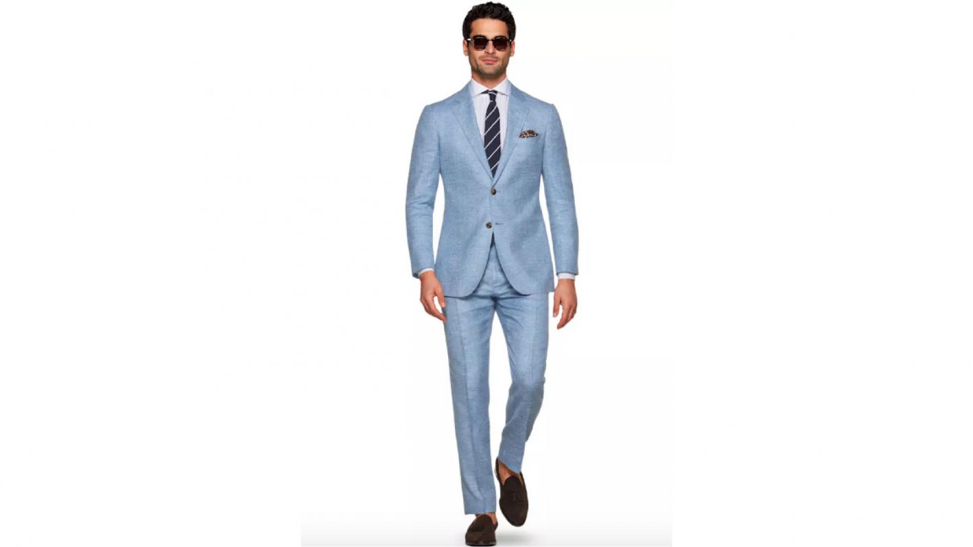 suit supply blue linen suit