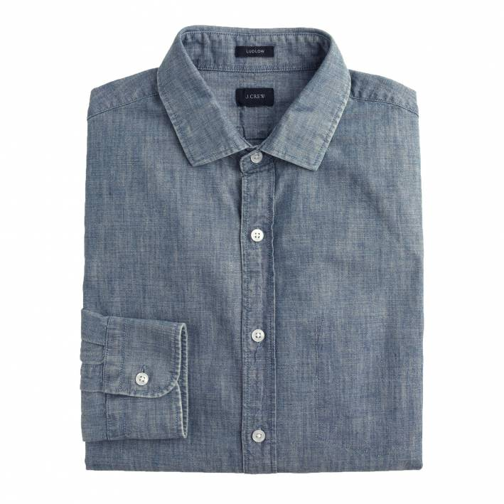 chambray, chambray shirt, shirt, casual, jcrew, denim shirt