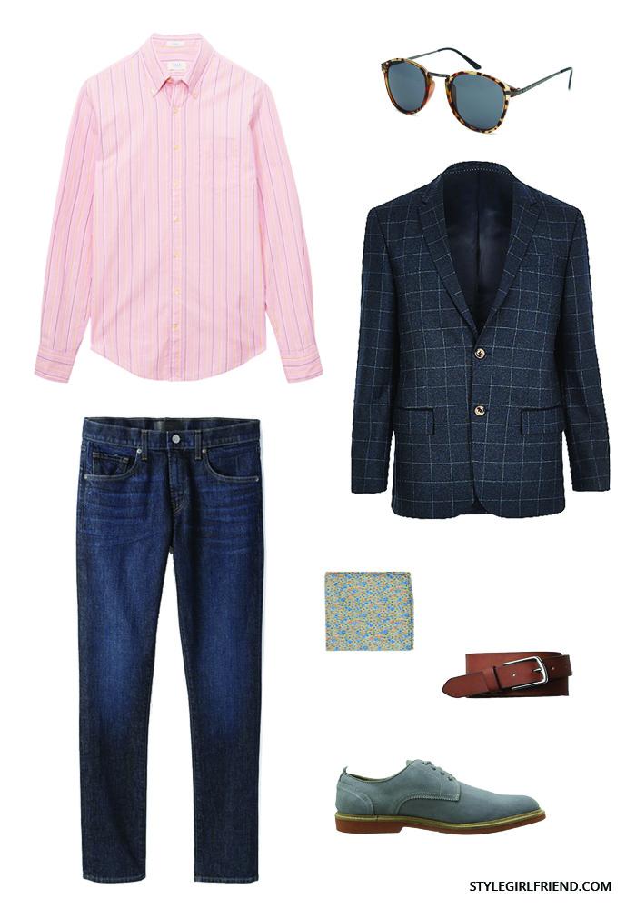 check blazer, men's style