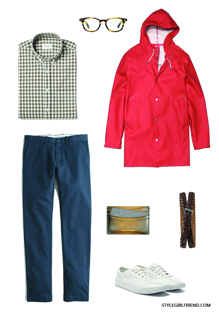 how to wear a red raincoat