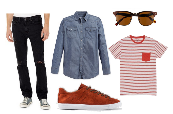 chambray, levi's, distressed denim, striped shirt, sneakers, sunnies