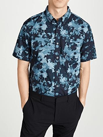 club monaco blue short sleeve shirt