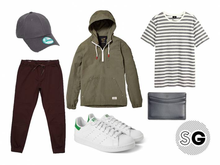 coffee, casual, joggers, anorak, cap, new era, urban outfitters, pacsun, hm