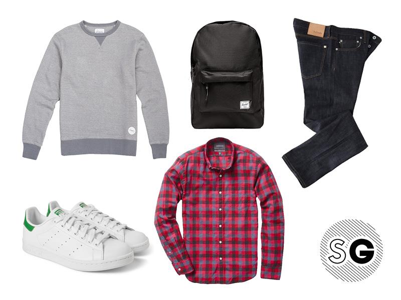 school, plaid, backpack, sweatshirt, saturdays nyc