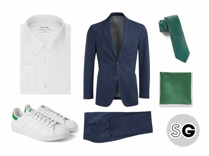 sneaker, suit with sneakers, stan smith, adidas, suit supply