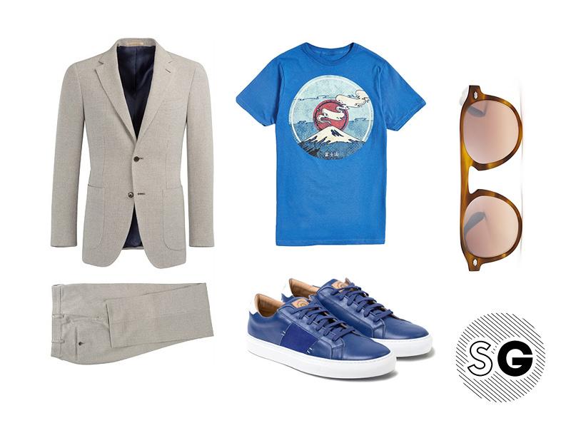 suit, tee, sneakers, garrett leight