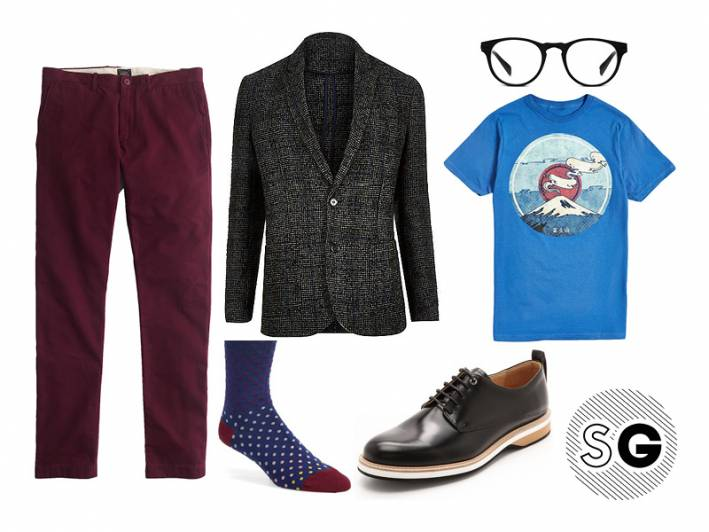 casual friday, office style, casual office, blazer and tee, chinos, colored pants, lace ups