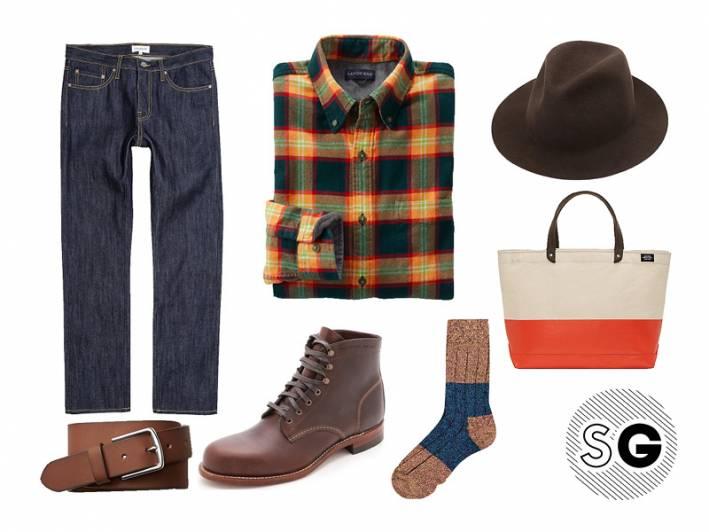 flannel, fall, autumn, brisk, cool, chill, boot socks, man bag