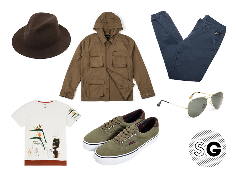 graphic tee, felt hat, plaid, sneakers, vans, ray-bans, brands