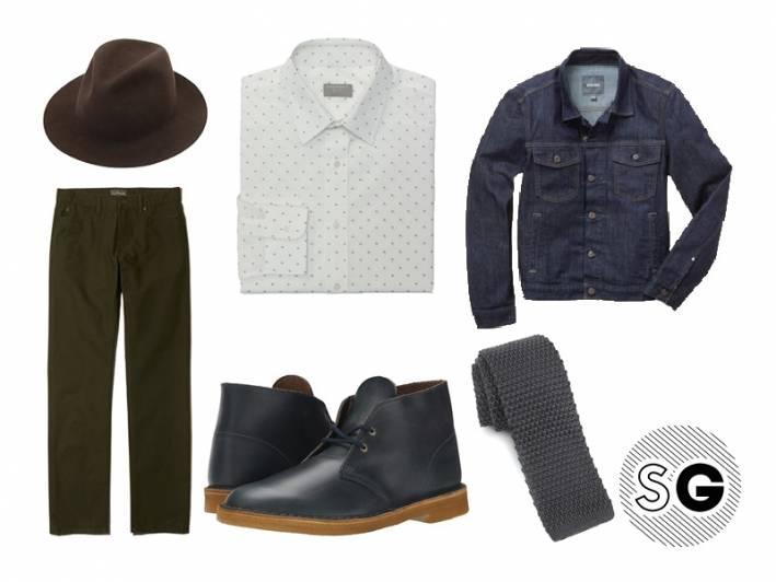 green pants, graphic shirt, triangles, knit tie, denim jacket, layering, fall, midnight blue, leather, chukka