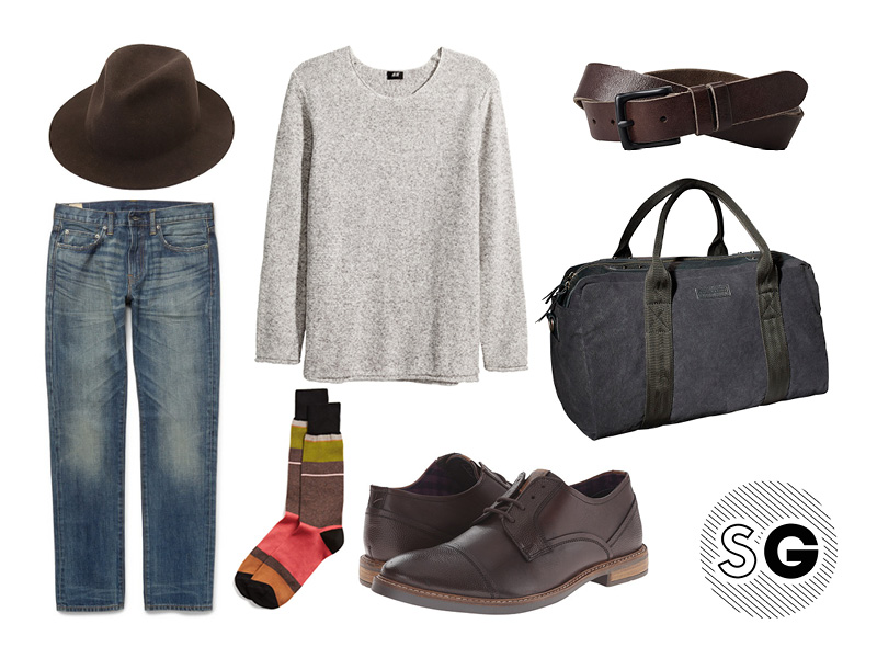 travel style, pack light, what to wear on the flight, train, plane, light layers, brown leather