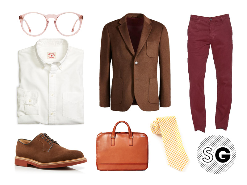 professor, workwear, office style, blazer, glasses, briefcase