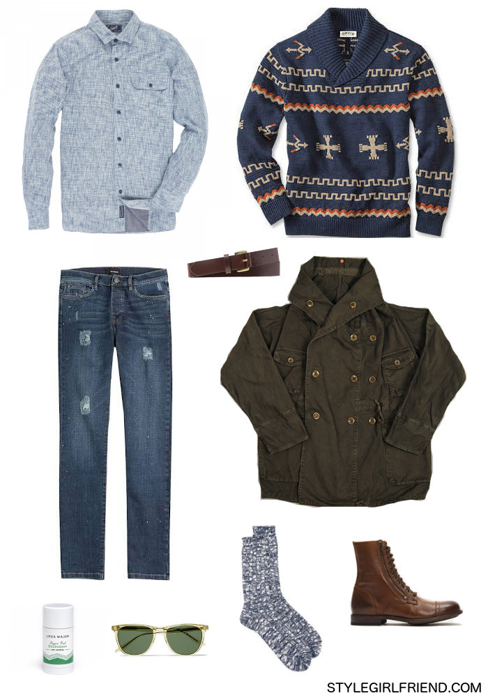 shawl collar sweater outfit for men