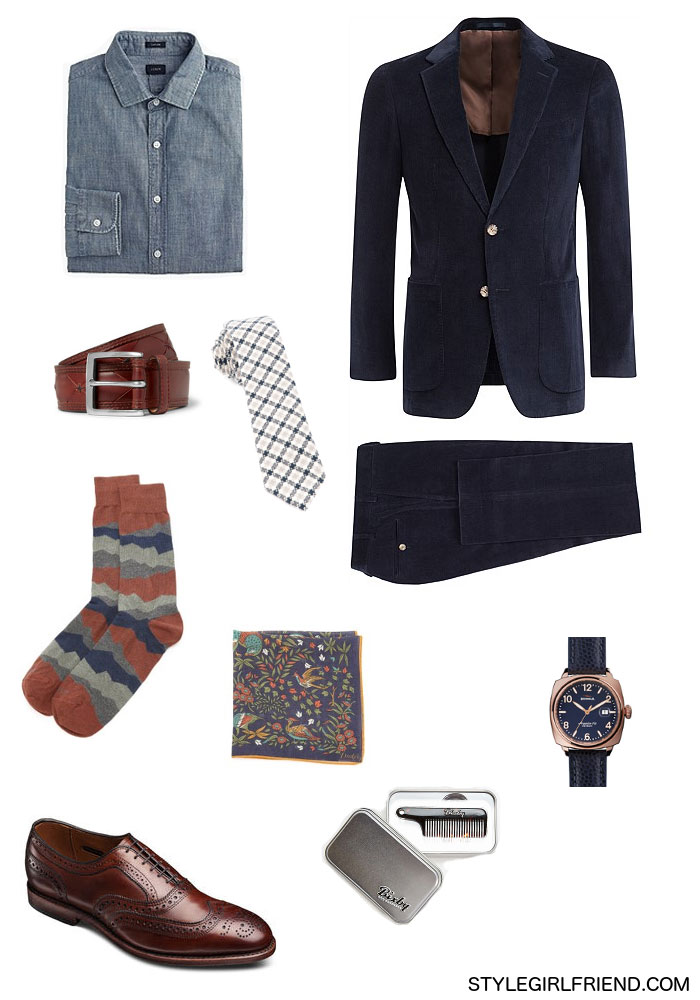 corduroy suit, work wardrobe