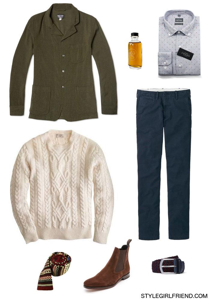 textured look, wool blazer, fisherman's sweater