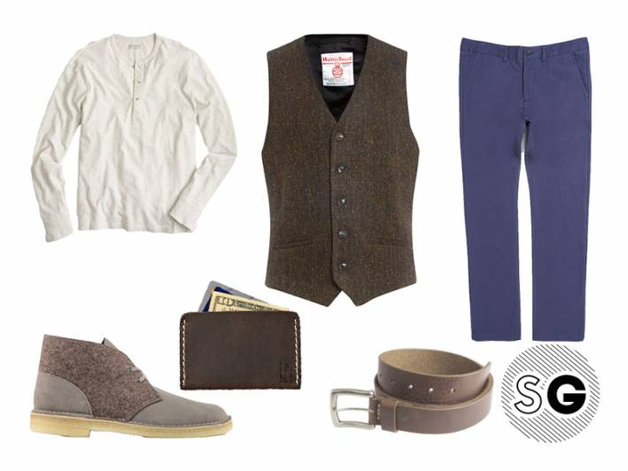 waistcoat, vest, layer, dressy, formal, harris tweed, colored chinos, texture