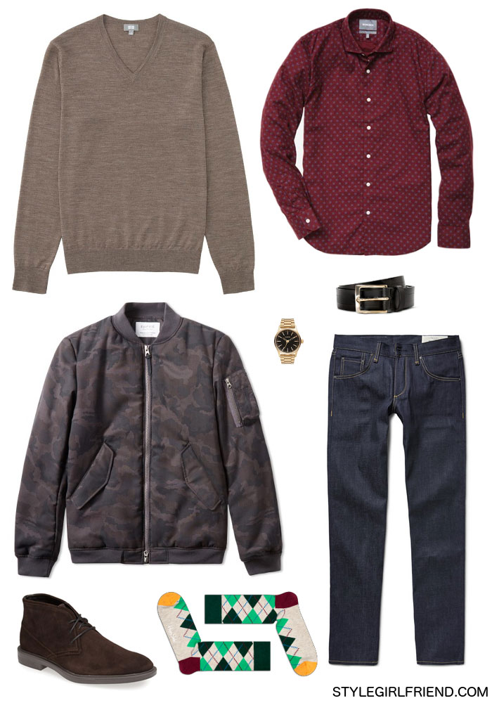 bomber jacket, camo print, camo print bomber jacket, mens outerwear, edifice