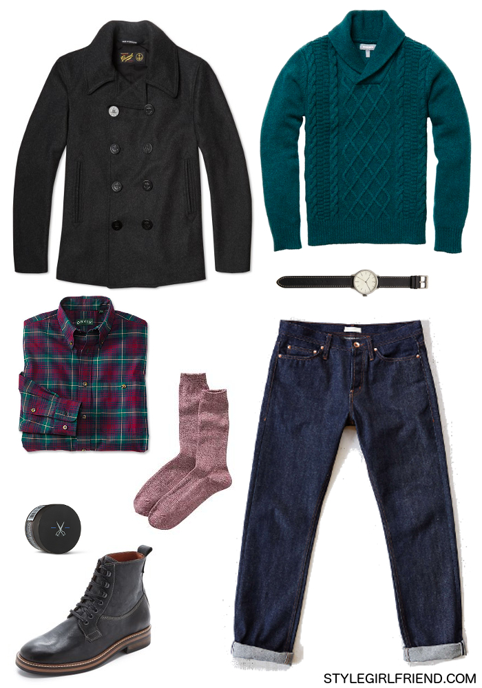 family gathering, holiday outfit, holiday style, peacoat, raw denim