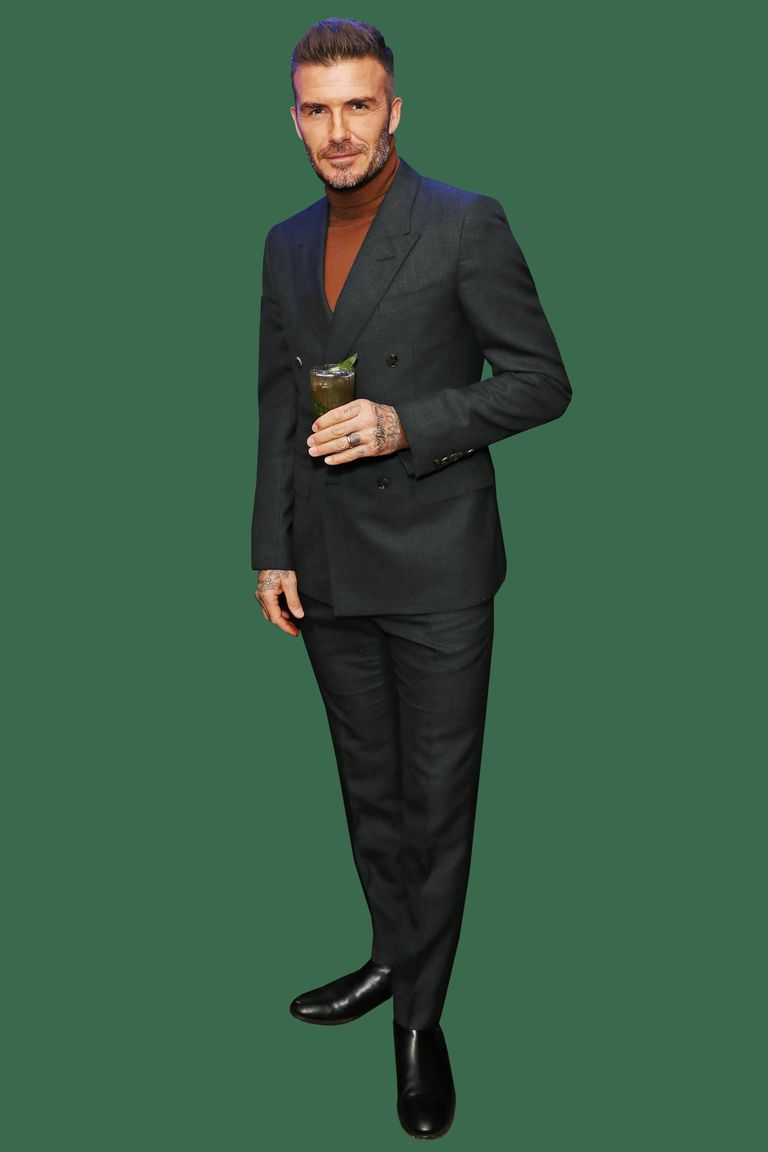 david beckham turtleneck with a suit