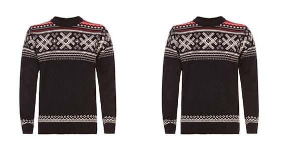 sweater, snowflake, nordic, print, pattern
