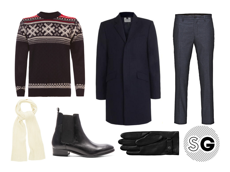 topcoat, nordic sweater, trousers, chelsea boots, british style