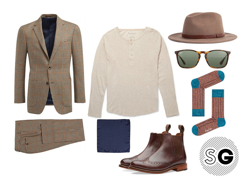 harry styles, rocker, suiting, chelsea boots, grenson, ray-ban, pocket square
