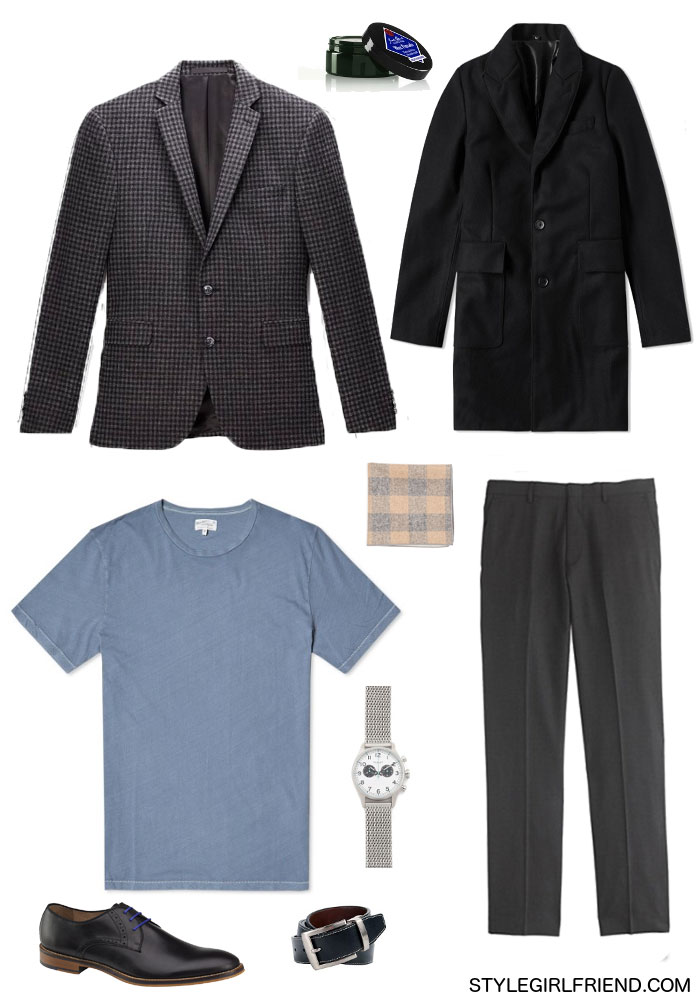 style hack, t-shirt and blazer, men's style