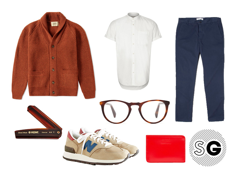 aesthetic, clean, bright, spring style, new balance, rolled chinos, warby parker, comb, ami, band collar
