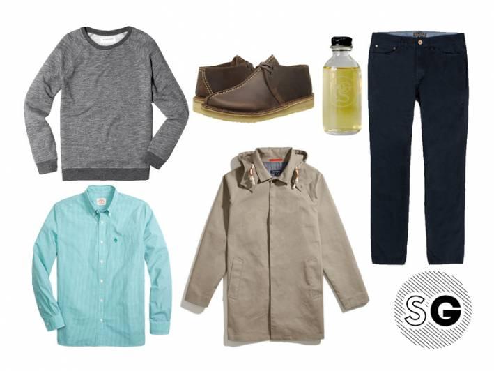 jacket, cologne, indie, portland general store, united by blue, date night, gingham, sweatshirt, everlane