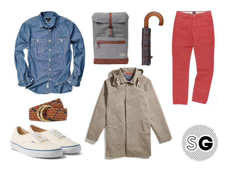 casual workplace, chinos, colored chinos, pop of color, chambray, vans, braided belt, umbrella, back pack