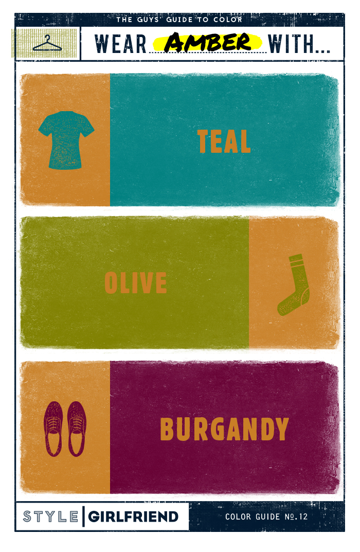 the guy's guide to amber, how to wear amber, amber orange, teal, olive, burgandy