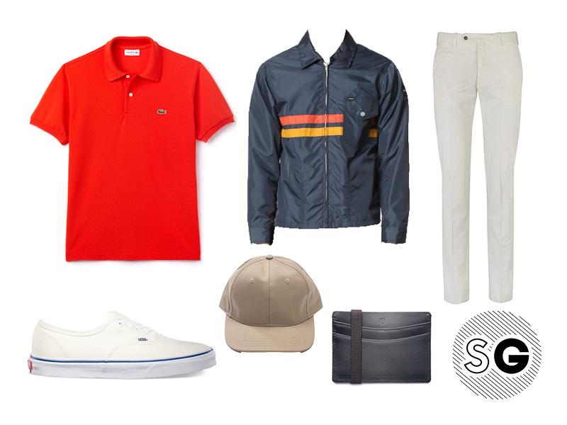 polo, lacoste, white pants, coach, 50's, cap