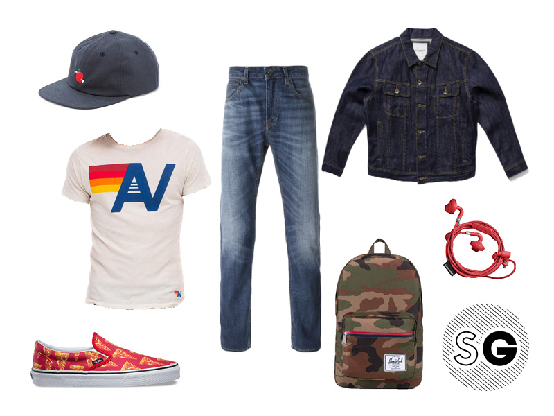 pizza party, vans, herschel, camo, bandanna, so cal, venice, chill, casual, weekend, denim, spring, bright, apple, wiliam tell
