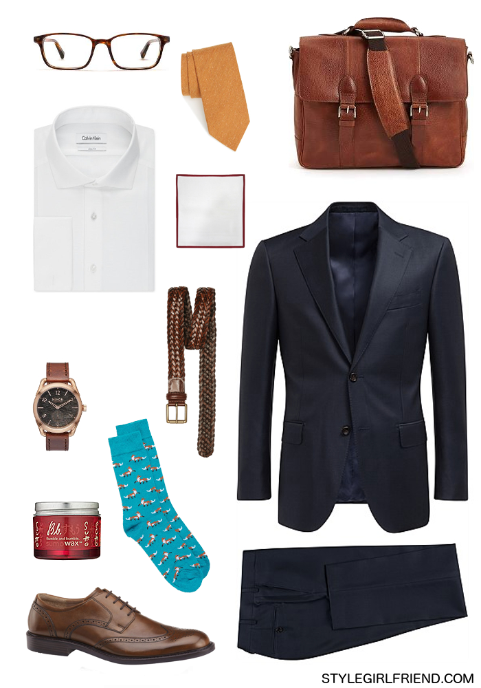 menswear, men's style, how to wear amber, office outfit, how to wear orange, orange and navy