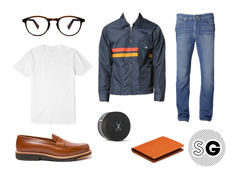 50's, coach jacket, denim, light denim, white tee, penny loafers, blind barber, warby parker