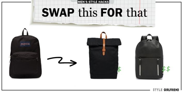 style upgrade, style swaps, swap this for that, sunglasses, men's backpack, backpacks for guys