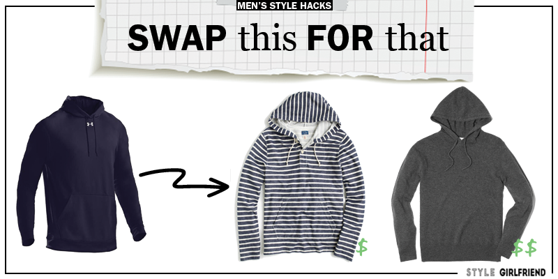 style upgrade, style swaps, swap this for that, sunglasses, men's hoodie, pullover hoodie