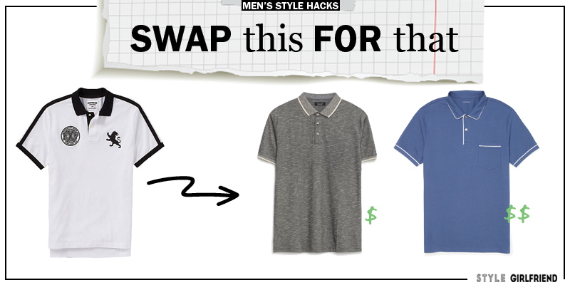 style upgrade, style swaps, swap this for that, sunglasses, polo shirt, men's polos