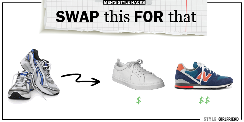 style upgrade, style swaps, swap this for that, khakis, minimal sneakers, men's sneakers, athletic sneakers