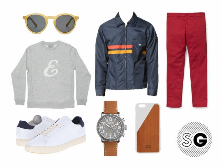 red pants, colorful chinos, sunglasses,